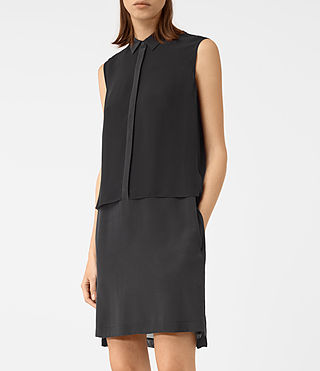 Womens Radial Sleeveless Silk Dress (Black) - product_image_alt_text_3