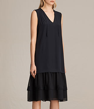 Womens Enber Long Silk Dress (DARK INK BLUE) - product_image_alt_text_5