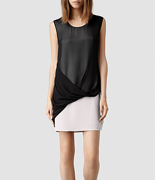 Womens Afia Dee Dress (Stone/Blk)