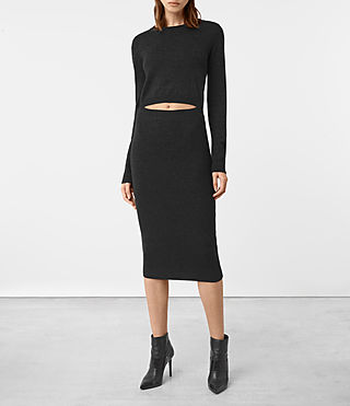 Womens Ola Merino Dress (Cinder Black Marl)