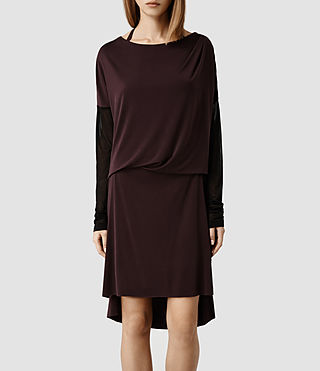 Womens Rubia Dress (Deep Burgundy/ Blk)