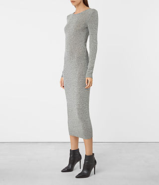 Damen Sade Dress (LIGHT GREY/BLACK) -