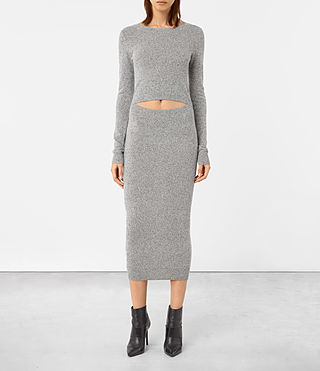 Damen Sade Dress (LIGHT GREY/BLACK) - product_image_alt_text_2