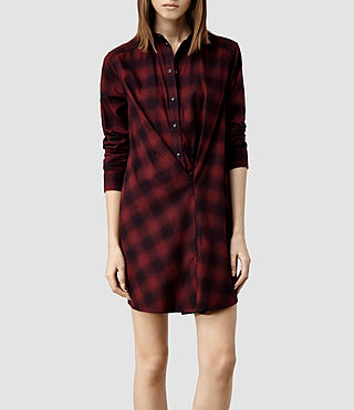 Womens Kayla Shirt Dress (Burgundy Check)