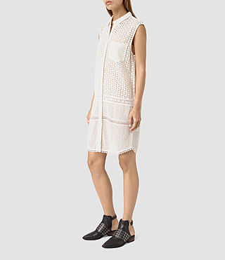Women's Elsa Shirt Dress (Chalk White) - product_image_alt_text_3