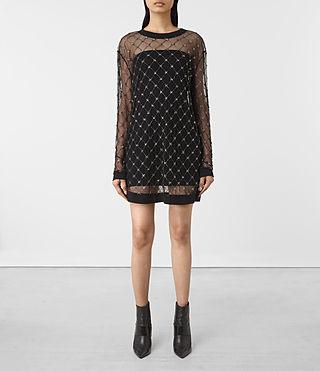Womens Wire Embellished Dress (Black)