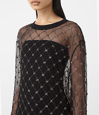 Damen Wire Embellished Dress (Black) - product_image_alt_text_2