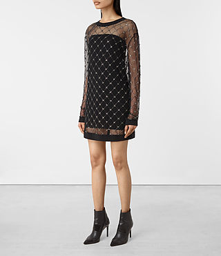 Damen Wire Embellished Dress (Black) - product_image_alt_text_5