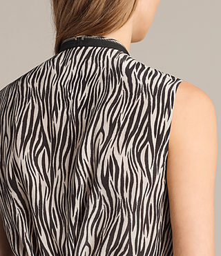 Women's Jayda Zebra Silk Dress (OYSTER WHITE/BLACK) - Image 2