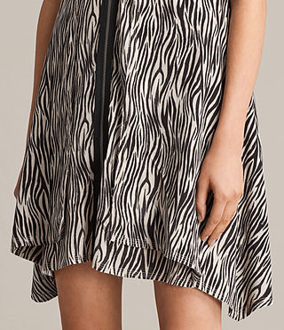 Women's Jayda Zebra Silk Dress (OYSTER WHITE/BLACK) - Image 3