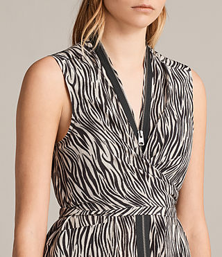 Women's Jayda Zebra Silk Dress (OYSTER WHITE/BLACK) - Image 4