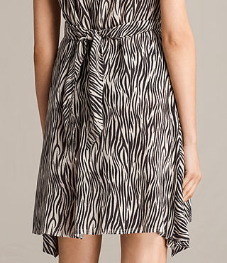 Women's Jayda Zebra Silk Dress (OYSTER WHITE/BLACK) - Image 7