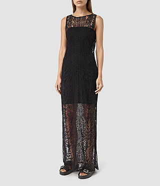 Mujer Cariad Embroidered Maxi Dress (Black)
