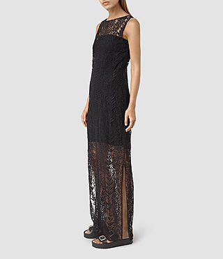 Women's Cariad Embroidered Maxi Dress (Black) - product_image_alt_text_3