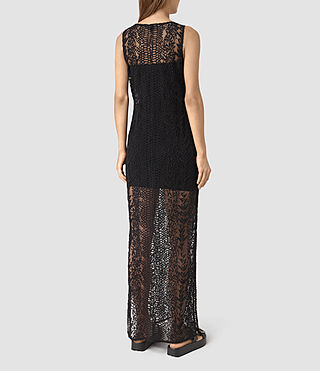 Women's Cariad Embroidered Maxi Dress (Black) - product_image_alt_text_4