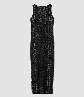 Women's Cariad Embroidered Maxi Dress (Black) - product_image_alt_text_5