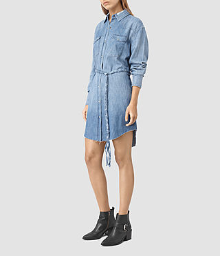 Mujer Xena Denim Dress (Indigo Blue) - product_image_alt_text_3