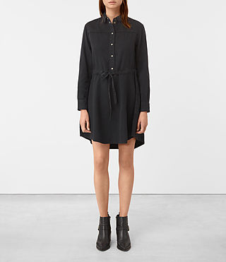 Womens Sanko Denim Dress (Washed Black)