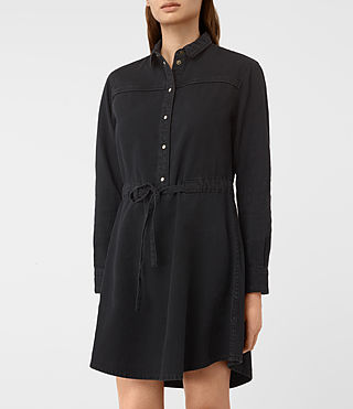 Damen Sanko Denim Dress (Washed Black) - product_image_alt_text_2