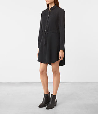 Damen Sanko Denim Dress (Washed Black) - product_image_alt_text_3