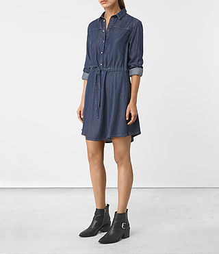 Damen Sanko Denim Dress (DARK INDIGO BLUE)