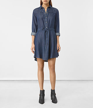 Women's Sanko Denim Dress (DARK INDIGO BLUE) - product_image_alt_text_3