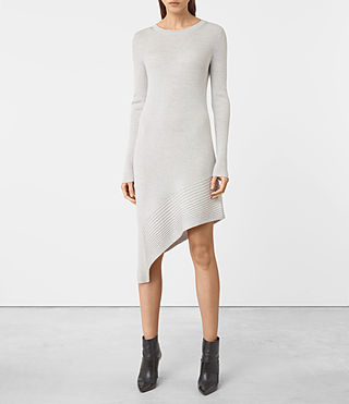 Damen Keld Knitted Dress (Stone Grey)