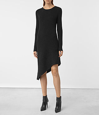 Womens Keld Merino Dress (Cinder Black Marl)