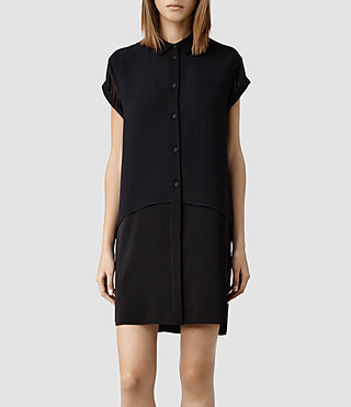 Womens Carolee Shirt Dress (Blk/Poly sheer Ink)