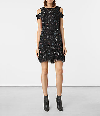 Femmes Brendi Ruffle Hem Dress (Black)
