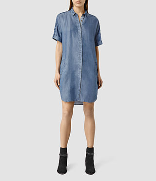 Womens Mel Denim Shirt Dress (LIGHT INDIGO BLUE)