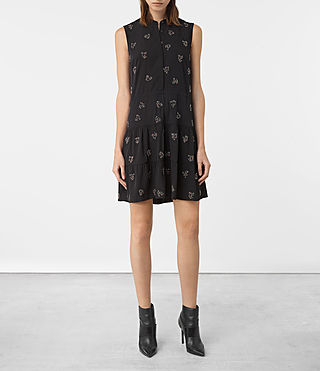 Womens Anouk Embellished Lin Dress (Black)