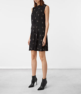 Womens Anouk Embellished Lin Dress (Black) - product_image_alt_text_3