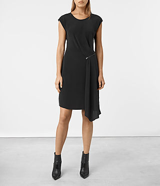 Womens Kado Silk Dress (Black) - product_image_alt_text_1