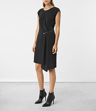 Women's Kado Silk Dress (Black) - product_image_alt_text_3