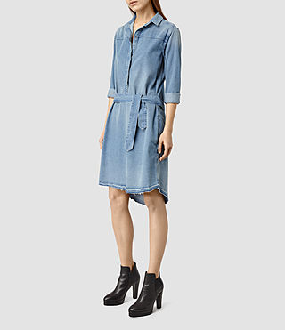 Damen Mia Denim Dress (LIGHT INDIGO BLUE)