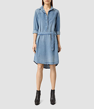 Womens Mia Denim Dress (LIGHT INDIGO BLUE) - product_image_alt_text_2