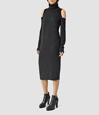 Mujer Neri Funnel Dress (Cinder Black Marl) - product_image_alt_text_2