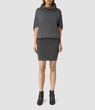 Womens Elis Cowl Dress (Charcoal Grey)