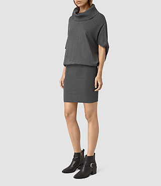 Mujer Elis Cowl Dress (Charcoal Grey) - product_image_alt_text_3