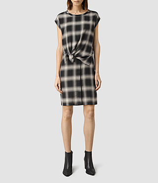 Womens Heny Check Dress (Black Check)