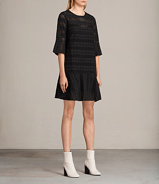 Women's Dakota Ruffle Dress (Black) - product_image_alt_text_3