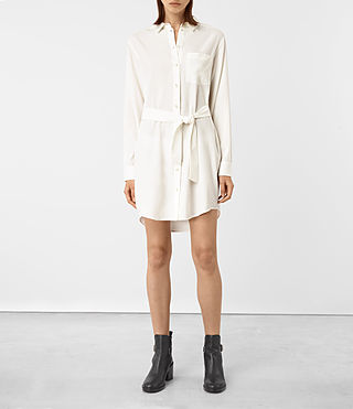 Mujer Jules Shirt Dress (Chalk White)