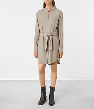 Mujer Jules Shirt Dress (Chrome Grey) -