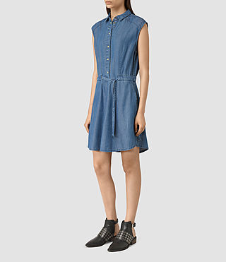 Damen Sanko Sleeveless Dress (LIGHT INDIGO BLUE)