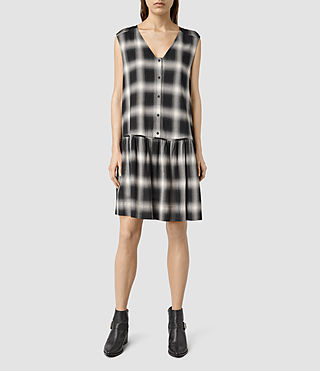 Womens Comma Check Dress (Black Check)