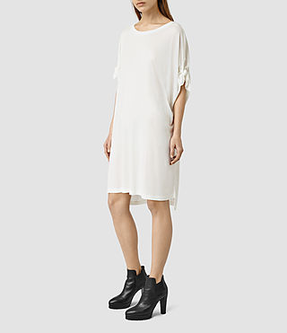 Mujer Catkin Tee Dress (Chalk White)