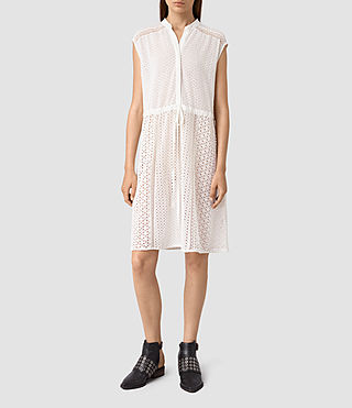 Mujer Elsa Waist Dress (Chalk White)