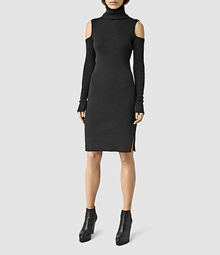 Womens Bernt Open Shoulder Dress (CinderBlackMarl)