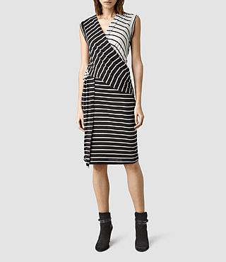 Womens Adria Stripe Dress (CL BLK/CLD GRY MRL)